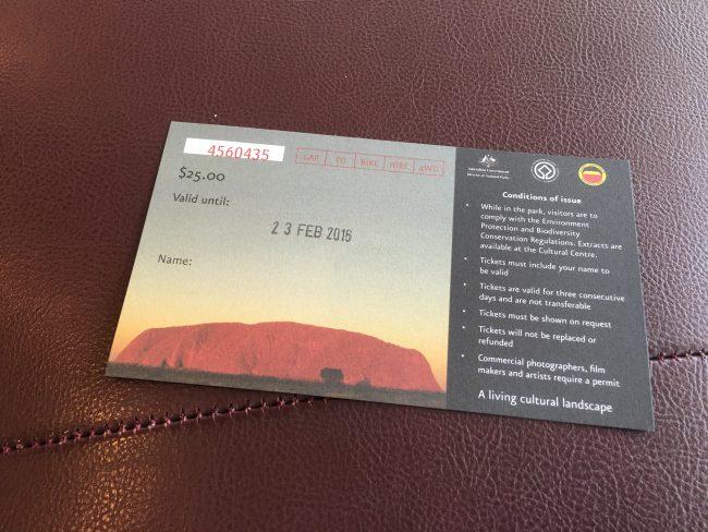 ウルル・カタジュタ国立公園の入場券