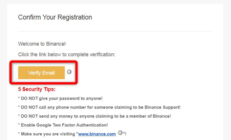 BINANCE認証用URL