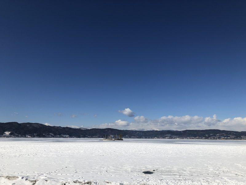 真冬の諏訪湖