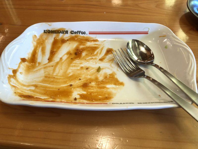 食べきったコメダのあんかけパスタ