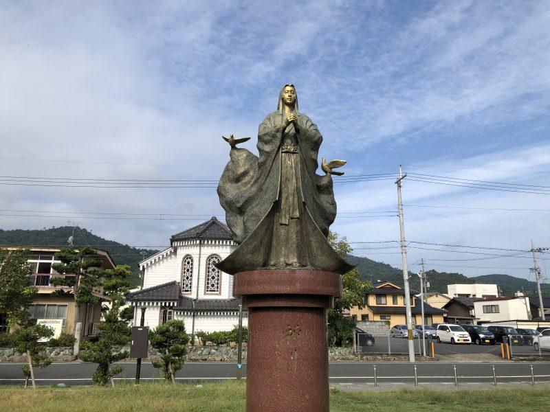 大手川ふれあい広場のガラシャ像